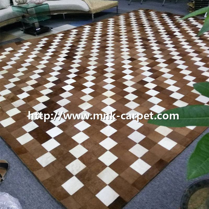 patchwork cowhide rug for flooring decoration